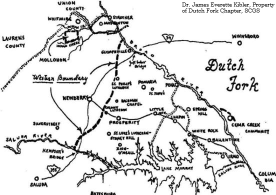Old map of the Dutch Fork